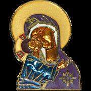SALE William Spear Russian Madonna Large Enamel Brooch/Pin on Original Card