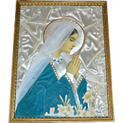SALE 1940s Convent of the Cross Nun Handmade Devotional Virgin Mary Mixed Media Art