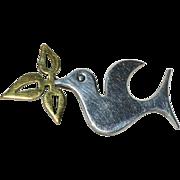 SALE Taxco Sterling Stylized Dove w/ Olive Branch Pin/Brooch