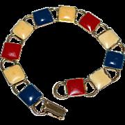 SALE 1960s Patriotic American Red, White & Blue Enamel Square Bookchain Bracelet