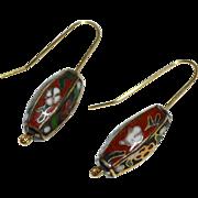 SALE 14K GF Asian Lantern Cloisonne Enamel Flower Dangle Earrings