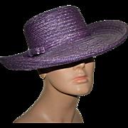 SALE PENDING Frank Olive Structured Purple Straw Wide Upturned Brim Hat
