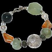 SALE Sterling Silver Chunky Gemstone & Genuine Pearl Bead Bracelet