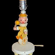 SALE 1960s Irmi Nursery Plastics Folk Art Clown on Unicycle Wood Lamp