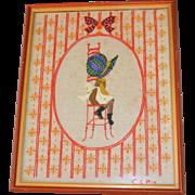 "SALE 1975 Large 22"" Holly Hobbie Hand Embroidery Folk Art in Orange Frame"