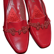 SALE 1970s Mushrooms Cherry Red Leather Slip-On Wedge Heels ~ Size 8M