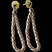"SALE 1970s Long 3"" Twisted Rope Hoop Chain Dangle Earrings"