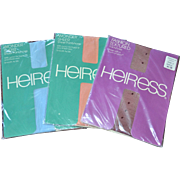 SALE Never Worn Set of 3 HEIRESS Fashion Pantyhose: Blue, Peach, Textured Wine Colors