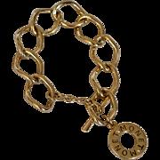 SALE MONET Signature Charm Goldtone Curb Link Toggle Bracelet