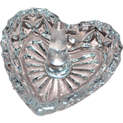 SALE Vintage Cut Lead Crystal Glass Heart Ring Holder