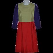SALE 1970s Jeane Eddy Designer Purple, Sage Green, Reddish-Orange Color Block Dress