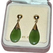 SOLD 14K Gold Green Jade Drop Pierced Dangle Earrings in Original Box