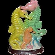SALE Fantastic 1950s Colorful Iridescent Seahorse Ceramic Aquarium Decoration / Ornament