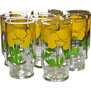 SALE Set of 8 Sunny Yellow Flower Drinking Glass Tumblers