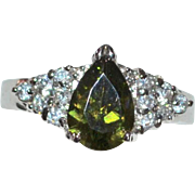 SALE 18k White Gold Electroplate Simulated Green Peridot & Diamond Cocktail Ring ~ Size 7