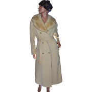 SOLD 1960s Fashion Gilt ILGWU Beige Wool Real Fur Collar Coat