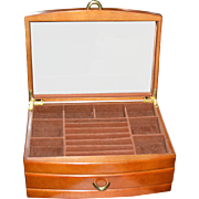 SOLD Large Genuine Wood 2-Drawer Velvet Lined Jewelry Box