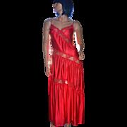 SALE 1970s Henson Kickernick Amazing Cherry Red Nylon & Lace Maxi Nightgown