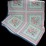 "SALE Vintage Pink Tulip Blue Fabric Quilt Coverlet 49"" x 64"""