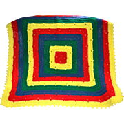 SALE Primary Colors Red Yellow Blue Green Square Hand Crochet Blanket
