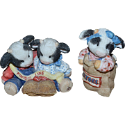 SALE Retired Enesco Mary Rhyner Moo Moo Cow Set of 2 Potato Sack Race Figurines