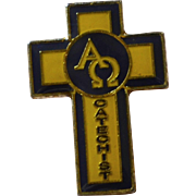 SALE Alpha Omega Catechist Yellow & Black Religious Tie Tack Pin