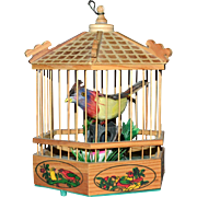 SALE Handcrafted Singing Feather Bird in a Wood Birdcage WORKS!