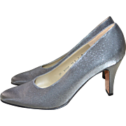 SOLD Salvatore Ferragamo Shimmery Silver Classic Pump Heels ~ Size 7B
