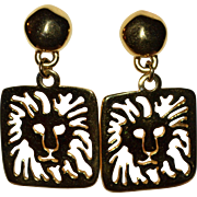 SALE Anne Klein Lion Hallmark Large Pierce-work Dangle Earrings