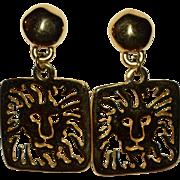 SALE Anne Klein Lion Hallmark Large Pierce-work Dangle Earrings
