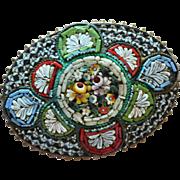 SALE Large Colorful Italian Micro-Mosaic Oval Brooch/Pin