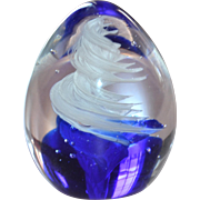 SALE Signed Russ Berrie Cobalt Blue & White Swirled Egg-Shaped Paperweight