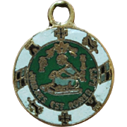 SALE 10K Gold Puerto Rico Coat of Arms Green/White Enamel Charm or Small Pendant