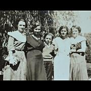 SALE 1930s Small Black & White Photo of Lovely Women Family