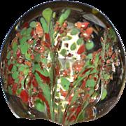 SALE Orange-Pink & Green Trumpet Flower Confetti Art Glass Paperweight