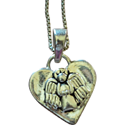 "SALE Sterling Silver 'Guardian Angel…Protect Me"" Heart Pendant Necklace"
