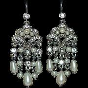 SALE MONET Signed Faux White Pearl & Rhinestone Chandelier Earrings