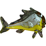 SALE Murano Orange & Yellow Blown Glass Fish in Movement Sculpture