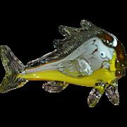 SALE Murano Orange & Yellow Blown Glass Fish in Movement Sculpture