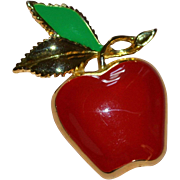 SALE Signed MJENT Red Enamel Apple w/ Green Leaf Pin/Brooch