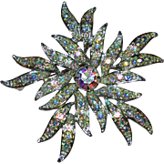 SALE 1970s Sarah Coventry Large Aurora Borealis Snowflake Brooch/Pin
