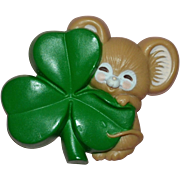 SALE 1983 Hallmark Cards St. Patrick's Day Mouse & Shamrock Clover Pin