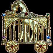 SALE Signed AJC Goldtone Giraffe in Rhinestone Circus Car Brooch/Pin