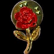 SALE Painted Red Enamel Rose Tie Tack Pin
