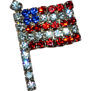 SALE Sparkly Red, White, Blue Rhinestone American Flag Tie Tack Pin