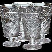 SALE 1950s Set of 4 Hazel Atlas Big Top Peanut Butter Pressed Glass Water or Iced Tea Goblets