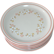 SALE NEW Set of 6 Chantilly by Hearthside Fleur de Bois Pink Peach Stoneware Dinner Plates