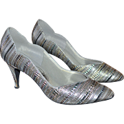SALE Touch Ups by Walk Silver Metallic Striped Heels ~ Size 8.5M