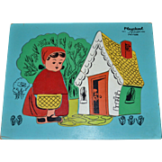 SALE 1950s Playskool Little Red Riding Hood 18 Pc Wooden Jigsaw Puzzle