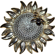 SALE Liz Claiborne 'Honeybee on a Sunflower' Figural Goldtone Brooch/Pin